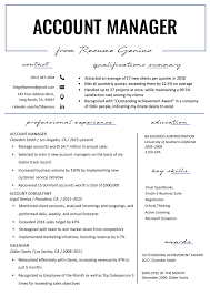 Resume For Managerial Position Account Manager Resume Sample Writing Tips Resume Genius