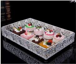 Decorative Metal Serving Trays 100100cm rectangle metal silver decorative serving trays silver trays 33