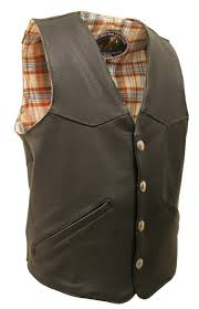 men s western style black american bison leather vest email a friend