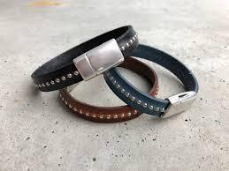 euro single studded leather band bracelet