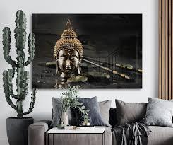 gold buddha glass wall art lopfire