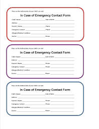Emergency Form For Daycare Emergency Contact Template Download Free Form And Card For