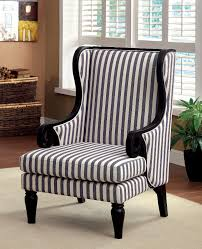 Blue Pattern Accent Chair Best Riviera White Dark Blue Stripe Fabric Accent Chair Shop For