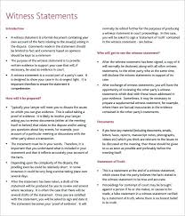 Witness Letter Sample Statement Affidavit Form Character Example For ...