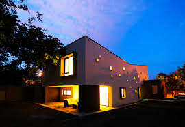 View modern house lights Stock Collect This Idea House View Night Freshomecom Modern Inspiring House Integrating Colourful Lights In Timisoara