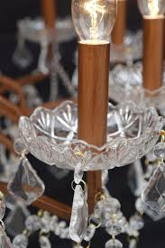 elegant vintage copper bronze 12 branch arm shallow cut glass chandelier