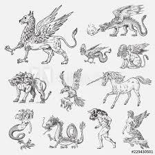Set Of Mythological Animals Mermaid Minotaur Unicorn Chinese Dragon