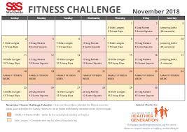November Through November Calendars November Printable Fitness Challenge Calendar S S Blog