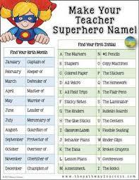 Teacher Superhero Name For Teacher Morale