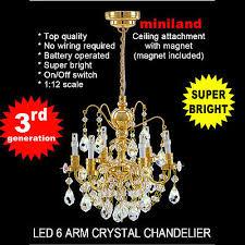 brass crystal chandelier 6arms battery led lamp dollhouse miniature light swich