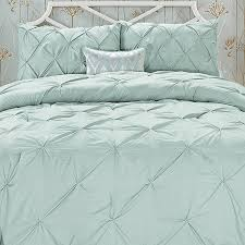 elegant comfort wrinkle resistant all season luxury silky soft pintuck 3 piece comforter set king misty blue com