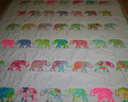 Preppy quilt   Etsy & Queen size Elephant Parade quilt made with Lilly pulitzer fabric Adamdwight.com