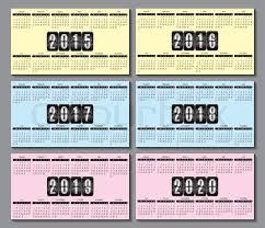 Calendar Grid 2015 2016 2020 For Stock Vector