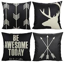 vakado black outdoor deer antler throw pillow covers cases rustic farmhouse arrow decorative cushion inspirational e words decor for couch sofa 18x18