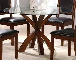 Glass Top Kitchen Table Round Glass Top Dining Table Designs Vidrian Regarding Round Wood