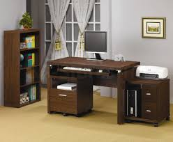 basic office desk. Brown Wooden Computer Desk For Home Office Complemented With Book Shelves Beside Basic