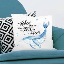 Kissen Wal Spruch Zeit Für Meer Polyester Von Wandtattoo Loft