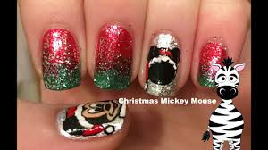 Christmas Mickey Mouse Nail Art Tutorial - YouTube