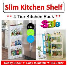 qoo10 4 tier multi purpose slim movable kitchen storage rack