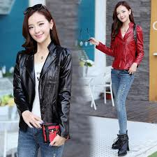 korean style female new style students leather faux leather coat