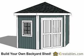 10x10 5 sided corner storage shed plans