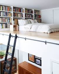 ... Space Saving Ideas. Japanese Lofted Bed With Home Library