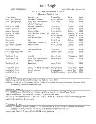 Sample Theatre Resumes Technical Theatre Resume Template Musical Resume Template Technical