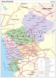 malappuram district map kerala district map with important places