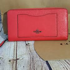 Coach leather accordion zip Poppy red wallet