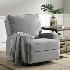 Dorel Home Furnishings Rylan Gray Swivel Gliding Recliner Home - Swivel recliner chairs for living room 2