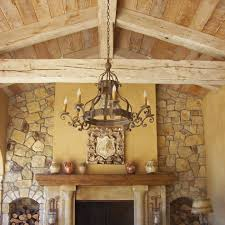 ceiling soffit patio mediterranean with old world chandelier