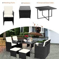viewee 9 pieces wicker patio dining set