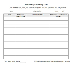 Hours Sheet Template Community Service Hours Log Sheet Template Community
