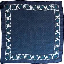 Navy & <b>Green Polka Dots Silk</b> Pocket Square