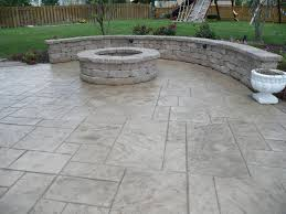 stamped concrete patio with fireplace. Fire Pit And Seat Wall On Patterned Stamp Patio. Stamped Concrete Patio With Fireplace