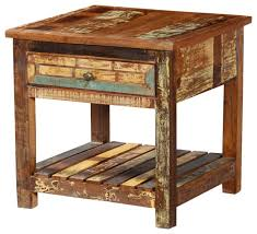 rustic reclaimed wood 2 tier weathered square end table rustic end with rustic end tables