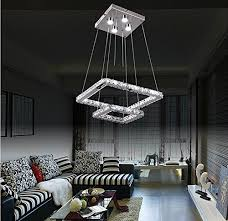 dixun modern led k9 crystal chandeliers pendant lighting big ceiling light fixture 2 squares 30 40cm white