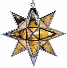 antique silver with antique glass large star pendant chandelier