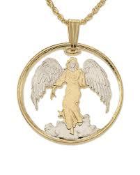 guardian angel pendant necklace religious medallion handcut 14k gold rhodium plated 1 diam 836 71677