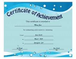 This Printable Certificate Of Achievement Features Blue Waves And