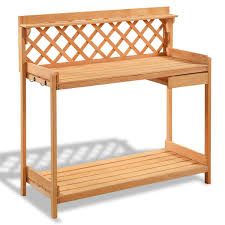 Potting Table Garden Wood Work Potting Bench Station With Hook Potting Benches