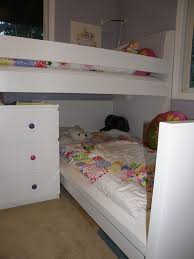 Charming Space Saving Shared Bedroom Decoration With Various Ikea White  Bunk Bed : Engaging Small Girl