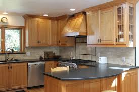 Varnished Oak Wood Corner Kitchen Cabinet Mixed Black Laminate Counter Top  Delightful Kitchen Designs With Cabinets71