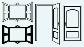 open door clipart black and white. open door and window. image isolated on blue background stock clipart black white l