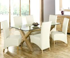 simple modern custom rectangle glass top dining tables with cross wood base and white leather chair