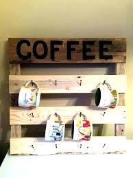 coffee mug wall shelf rack handcrafted wooden pallet mounted
