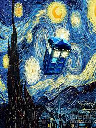 doctor painting weird flying phone booth starry the night by three second