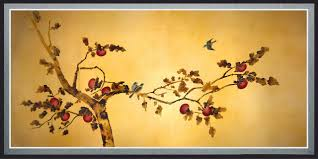 Oriental Wall Art Birds On Plum Tree Canvas Wall Art Traditional Artwork  Framed Oriental Wall Art