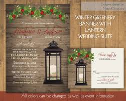 Rustic Winter Wedding Invitations Lantern Wedding Invitations Set Rustic Winter Wedding Invitation