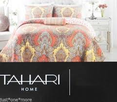88 best Bedding Inspiration images on Pinterest | Bed sets ... & TAHARI MOROCCAN MEDALLION KING QUILT 3p SET PAISLEY TROPICAL ORANGE YELLOW  AQUA Adamdwight.com